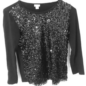 Classy black sequined long sleeve shirt